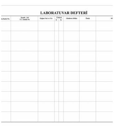Laboratuvar Defteri 100 Yaprak 1.hamur 28 cm x 40 cm