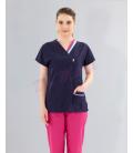 Lacivert Çift Yaka Dr Greys Modeli Takım (Terikaton Kumaş )