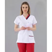 Beyaz Çift Yaka Dr Greys Modeli Takım (Alpaka Kumaş )