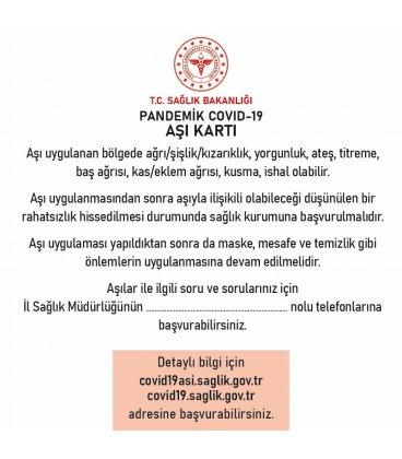 PANDEMİK COVİD 19 AŞI KARTI