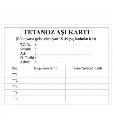 TETANOZ AŞI KARTI
